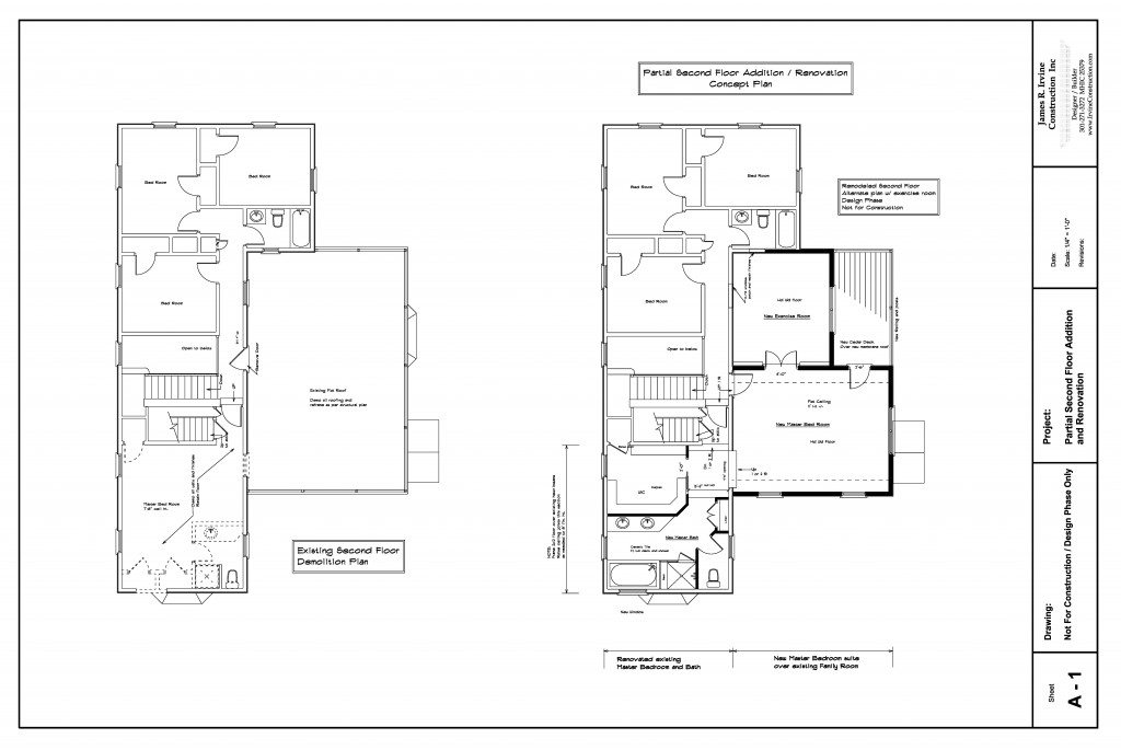 Partial second floor home addition maryland irvine for Home addition architectural plans